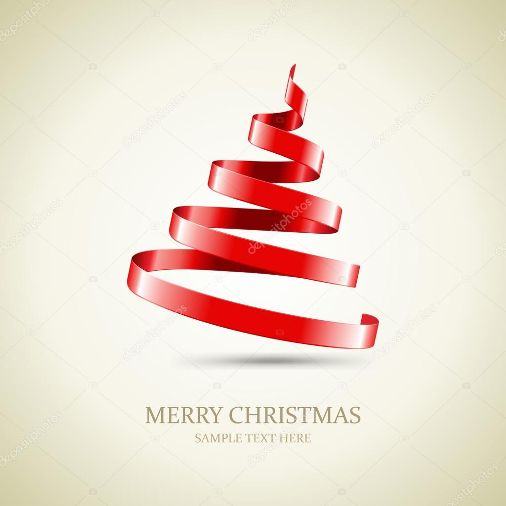 Christmas Tree With Red Ribbon: Christmas Tree From Red Ribbon Vector Background. Eps 10