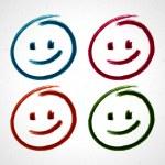 Hand drawn smile face. Vector design elements set eps 10. — Stock Vector