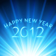 Happy new year 2012 message from neon vector background. Eps 10. — Vector de stock