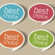 Retro speech bubbles set with best choice message vector illustration Eps 10. — Vettoriale Stock