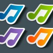Vector music note icon on sticker set. Transparent shadow easy replace background and edit colors. — Imagens vectoriais em stock