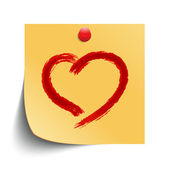 Hand drawn heart shape on note paper. Vector design element eps 10. — Stock Vector