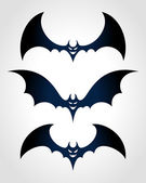 Halloween black bat scary face Vector icon set eps 10. — Stock Vector