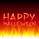 Halloween message lettering from flame fire. Vector background 10. — ストックベクタ