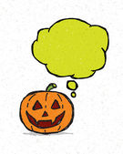 Hand drawn Halloween pumpkin and speech bubble. Vector background eps 10. — Stock Vector