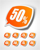 Vector discount labels set. Transparent shadow easy replace background. — Stock Vector
