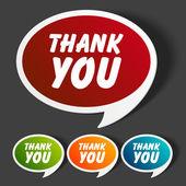 Vector dank u bericht stickers set. transparante schaduw gemakkelijk vervangen achtergrond en kleuren bewerken. — Stockvector