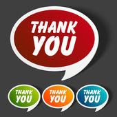 Vector thank you message stickers set. Transparent shadow easy replace background and edit colors. — Stok Vektör