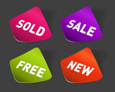 Vector sale stickers set. Transparent shadow easy replace background and edit colors. — Stockvector