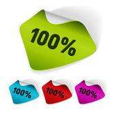 Vector conjunto de adesivos de 100 por cento. fácil substituir o fundo e editar cores. — Vetorial Stock