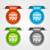 Vector thank you message bookmark set. Transparent shadow easy replace background and edit colors. — Stock Vector