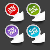 Vector click here message icon on arrow sticker set. Transparent shadow easy replace background and edit colors. — Stock Vector