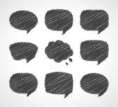 Hand draw speech bubbles set vector illustration. Eps 10, — Stock Vector