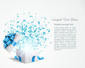 Open gift with fireworks from confetti vector background. Eps 10 — Vector de stock