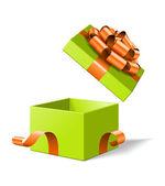 Ouvrir la boîte de cadeau avec arc isolé sur blanc. vector illustration eps 10. — Vecteur