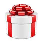 Gift box with red bow isolated on white. Vector illustration eps 10. — Wektor stockowy