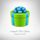 Green gift box with blue ribbon. Vector background eps 10. — Stock Vector