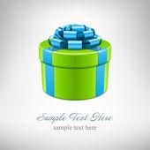 Caja de regalo verde con cinta azul. vector fondo eps 10. — Vector de stock