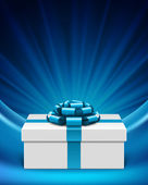 White gift box with blue ribbon and light. Vector background eps 10. — 图库矢量图片