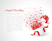 Open gift with fireworks from heart confetti vector background. Eps 10 — Stockvektor