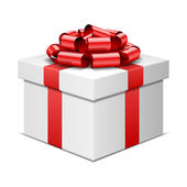 Gift box with red bow isolated on white. Vector illustration eps 10. — Stock Vector