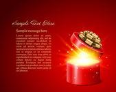 Fondo de vector de navidad con regalo abierto — Vector de stock