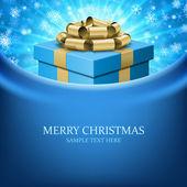 Caja de regalo con la cinta y cortina. christmas vector fondo eps 10. — Vector de stock