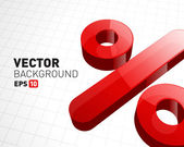 Red Percent Sign over white background — Vector de stock