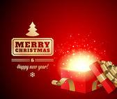 Open gift and light fireworks christmas — Stock Vector