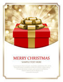 Gift box and light christmas — Vector de stock