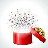 Ouvrir le cadeau avec feux d'artifice de confettis — Vecteur