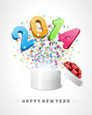 Happy new year 2014 message fly fro open box — Stock Vector
