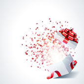 Open gift with fireworks from confetti — Vector de stock
