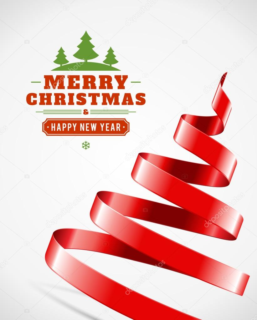 Christmas tree from red ribbon stock vector vikasuh for Red ribbon around tree