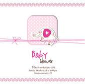 婴儿送礼会请柬与副本空间 — 图库矢量图片