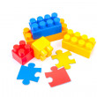 Lego cubes and puzzles — Stock Photo