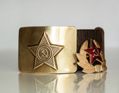 Soldier's belt and badge — Stock Photo