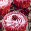 Strawberry cupcake with hand made rose — Stock Photo #13113508