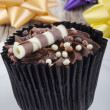 Stock Photo: Chocolate cupcake with choco chrunchies