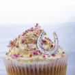 Buttercream cup cake with horseshoe — Stock Photo