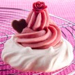 Stock Photo: Meringue with raspberry buttercream