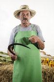 Agriculteur biologique avec une petite faucille à la main — Photo