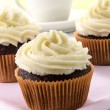 Stock Photo: Chocolate cupcake with lemon buttercream
