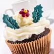 Stock Photo: Chocolate cup cake with butter cream