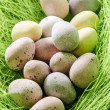 Easter eggs in a green nest — Stock Photo