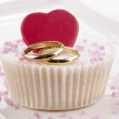 Wedding cupcake with red heart — Stock Photo
