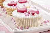 Cupcake with pink and white pearls — Stock Photo