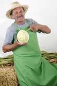 Organic farmer with one cabbage in his hand — Stock Photo