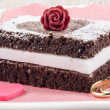 Valentine cake with a red rose - Stock Photo