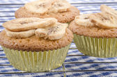 Cupcake with organic banana slices — Stock Photo